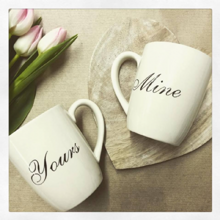 50% OFF Set Of 2 Cream Mugs Yours & Mine